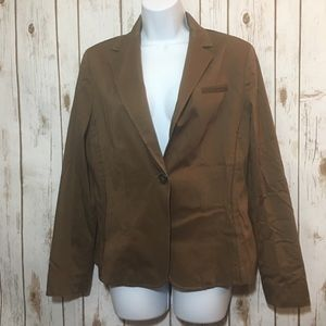 ANNE KLEIN brown single button blazer